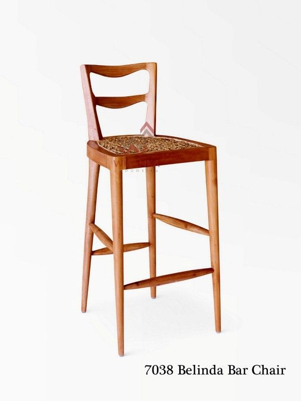 Beautiful Belinda Wooden bar stool form Indonesia Rattan. Has a nice modern look. Frame was made of a solid wood. The seat inserted with wicker natural fiber.
