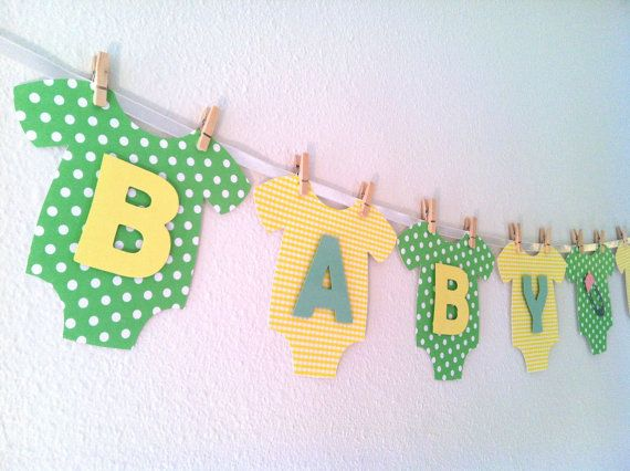 Onesie BABY SHOWER Banner: Gender Neutral (Yellow and Green) Baby Shower Decoration. $37.95, via Etsy.
