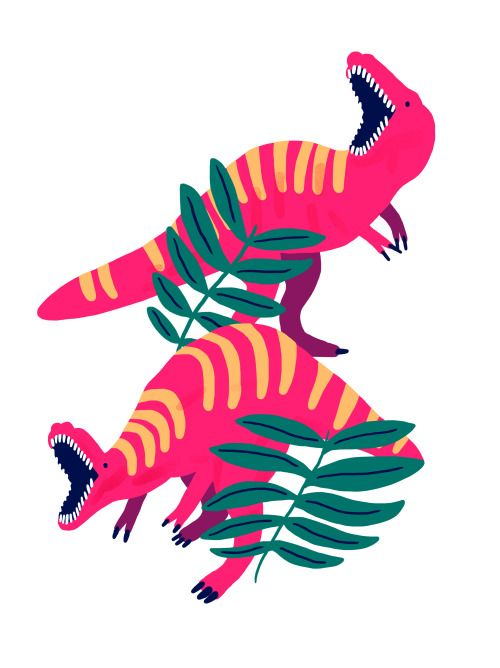 quite a girly approach to dinosaurs. Could be developed into a feminine piece like a scarf or bookmark