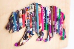 Collage - Beer van rolletjes papier uit tijdschriften. Kan ook met stroken. Gebruik een silhouet voor de vorm