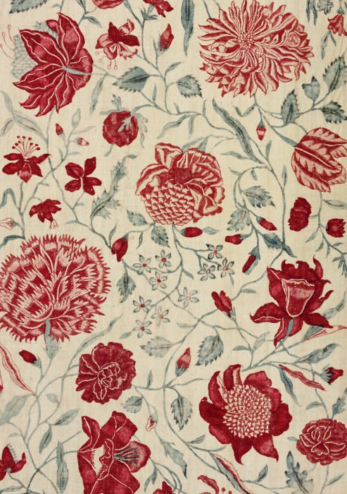 Red floral textile. (If anyone can tell me the manufacturer/pattern, I would appreciate it!)