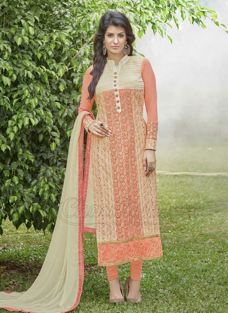 Buy Lively Georgette Peach Designer Suit Online.  Include elegance and appeal towards the look in this peach georgette architect suit. The awesome weaved and resham work throughout the clothing is stunning. Accompanies coordinating base and dupatta.