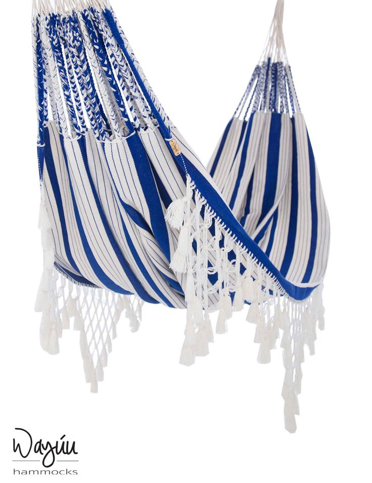 Castaway worries while relaxing in this nautical-inspired hammock, handwoven by expert artisans in Colombia. Allow your thoughts to drift away with this chic piece, featuring crisp blue and white maritime-inspired stripes and trendy tassels.