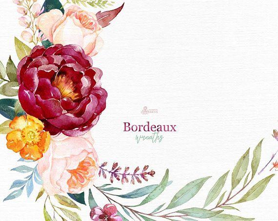 Bordeaux Kranze Aquarell Floral Clipart Burgund Kastanienbraun Lila Braut Hochzeit Blumen Pfingstrose Marsala Trend Braut Marine Erroten Blumen Aquarell Clipart Aquarell Blumen