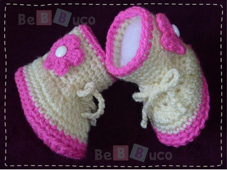 Botas tejidas a crochet para beb en dise os modernos para for Zapateras para ninas
