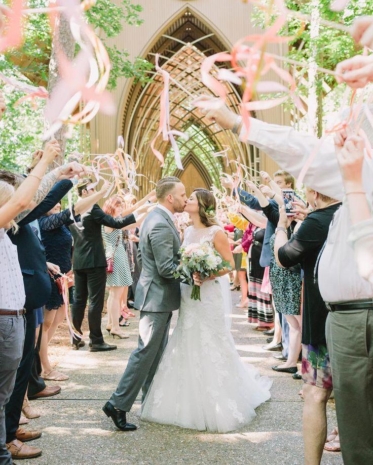 Wedding ribbon wand exit exit at Mildred B. Cooper Chapel