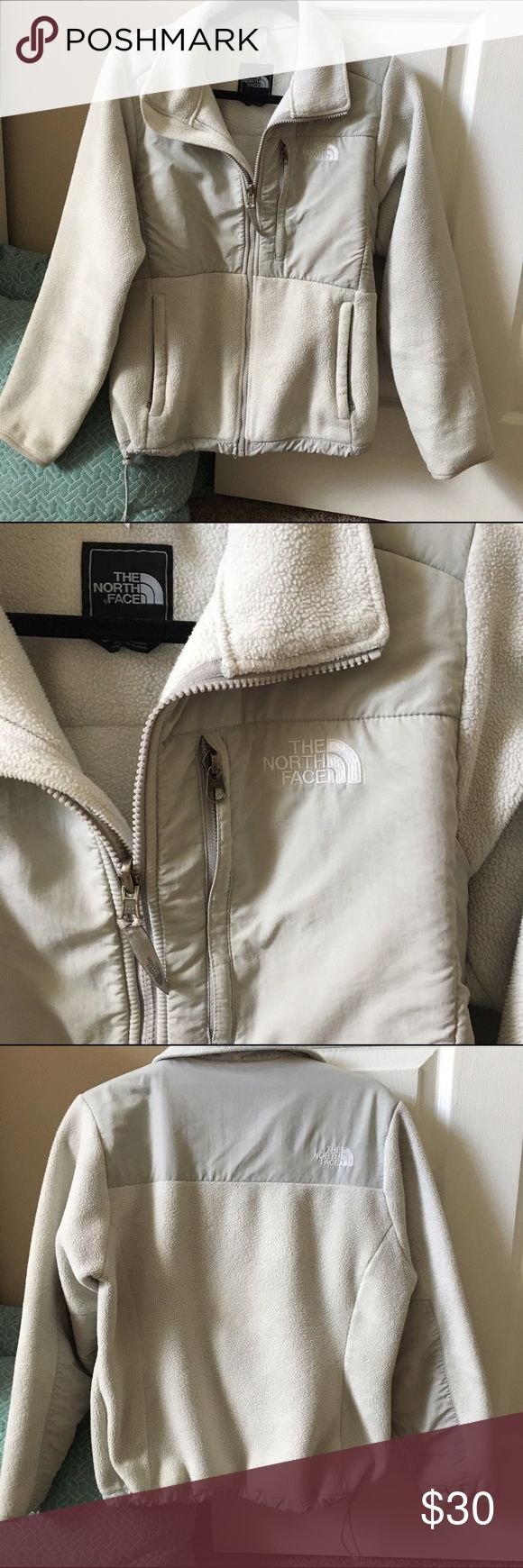 White North Face Jacket This jacket is in good wearable condition. The white fleece is a bit discolored and not as soft as when first bought! Open to some offers! The North Face Jackets & Coats