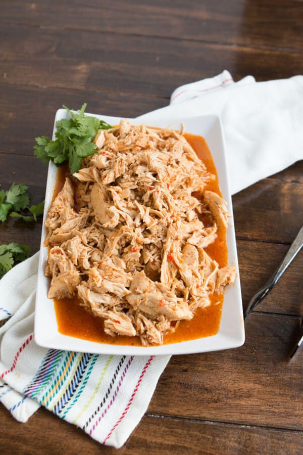 Slow Cooker Cafe Rio Chicken Copycat recipe ohsweetbasil.com
