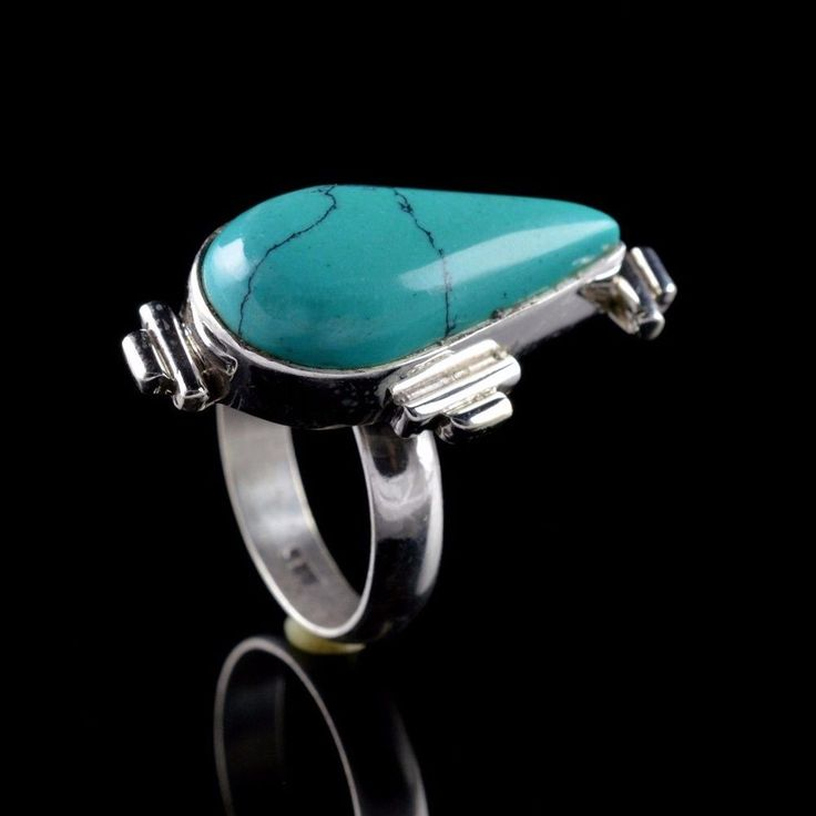 NATURAL TURQUOISE GEMSTONE HANDMADE MENS RING SIZE 7.5 925 STERLING SILVER R327 #Unbranded
