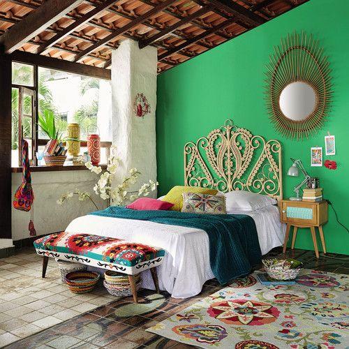 Bankje voor voeteneinde bed, veelkleurig katoen met borduursel, lengte 119 cm