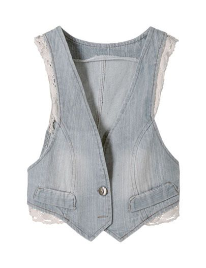 SheInside : Blue Lace Trims Bleached Denim Bow Back Waistcoat $30.00 - Perfect.: Cat