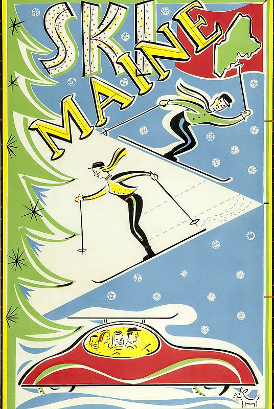 Vintage skiing poster :: Maine