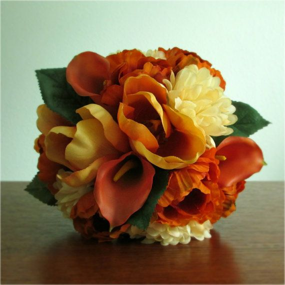 """Sunset"" Bouquets and Boutonnieres, in Orange, Amber, and Cream, with real touch mini calla lilies, silk tulips, poppies, and chrysanthemums. bridesmaid bouquet, bridal bouquet, wedding flower packages, #posiesandpearls"