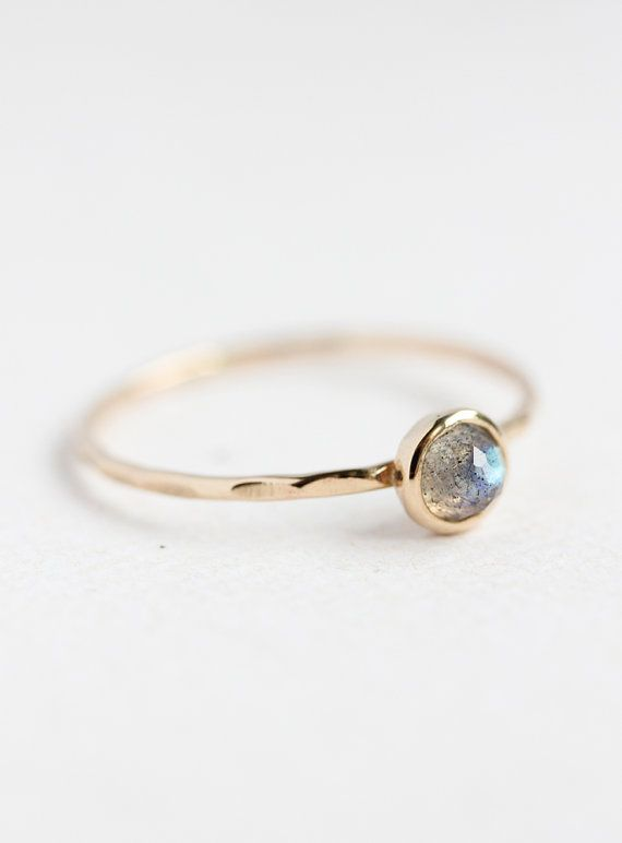 Solid gold and rose cut labradorite stacking ring, thin gold band, delicate, stack ring, size 4 to 9 on Etsy, $107.00 AUD
