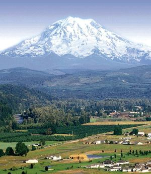 View across Puyallup River valley toward Mount Rainier,,,My Husband was born in Puyallup,WA