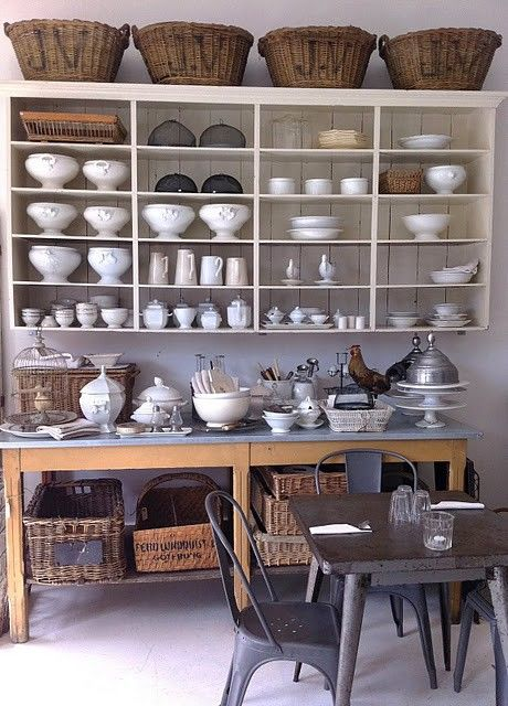 Open shelving and baskets for kitchen storage ...pantry