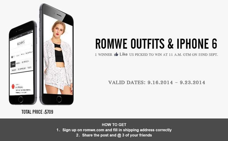 Free Romwe Outfits & Iphone 6 Time: Sept. 16 - Sept. 23 Link: >>http://goo.gl/oyj7uh