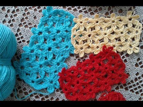 Пышные цветочки мотивами безотрывно.Crochet flowers motifs (узор #111) - YouTube
