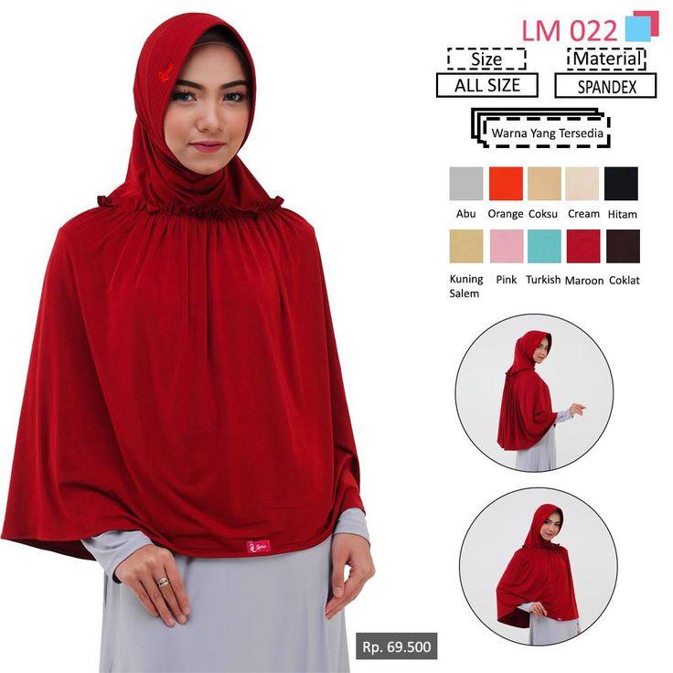 LM 022 Lamia Hijab - Kerudung Bergo Syar'i bahan kualitas premium, nyaman dipakai dan anti gerah. Material : Spandex. Size : All Size. #lamiahijab #hijabindonesia #kerudunginstan #bergo