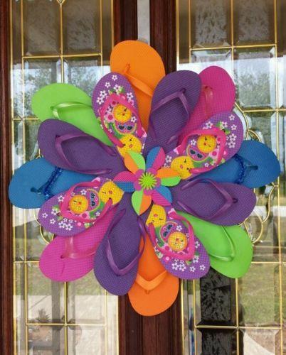 Summer Unique Handmade Flip Flop Wreath Door Wall Decor Purple Lime Fruit Faces   eBay