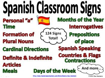 Spanish Grammar Bulletin Board / Classroom Signs / Word Walls by Sue Summers - Surround your students with colorful signs of Spanish speaking countries, months of the year, punctuation, time, possessive adjectives, interrogatives, prepositions, plurals, personal a, contractions, days of the week, articles and more! Also use the PowerPoint to introduce and review these concepts.