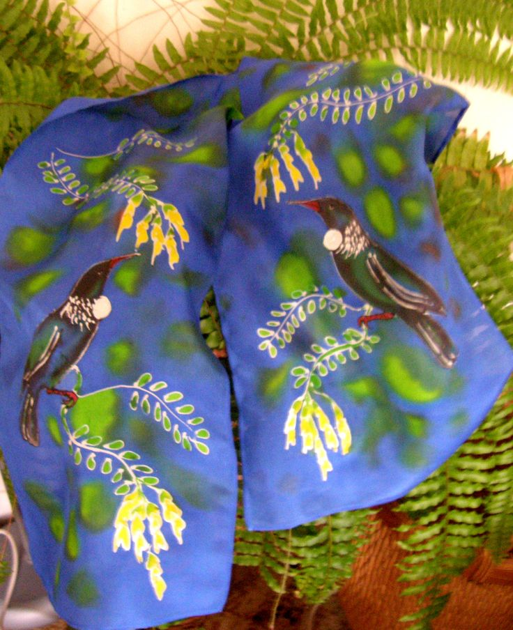 #NZGifts #NZOnLine #KIWIANA GIFTS Tuis amongst the Tree Ferns!!. Well,they are still frolicking and singing in our garden. These ones, however are Handpainted Silk. www.satherleysilks.co.nz