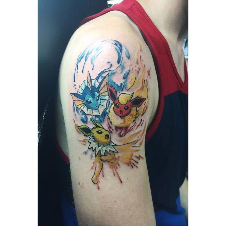 Chronic Ink Tattoo - Toronto Tattoo  Vaporeon, Flareon and Jolteon tattoo in a watercolour style. Watercolour Pokemon tattoo done by Livia.