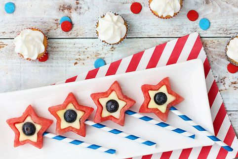Watermelon, apples, and blueberries - Patriotic Star fruit pops