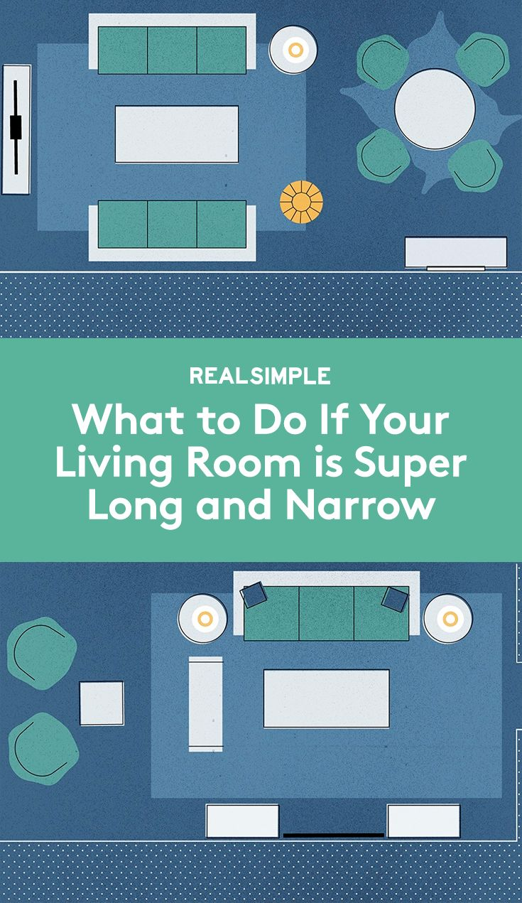 What to Do if Your Living Room is Super Long and Narrow | Divvy up the space to get the most out of the oddly shaped square footage. Opt for either two defined spots or a more fluid layout. Take a look at some ideas.                                                                                                                                                                                 More