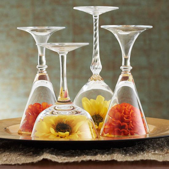 Glass Pyramid Centerpiece : Best images about decorating with wine glasses on
