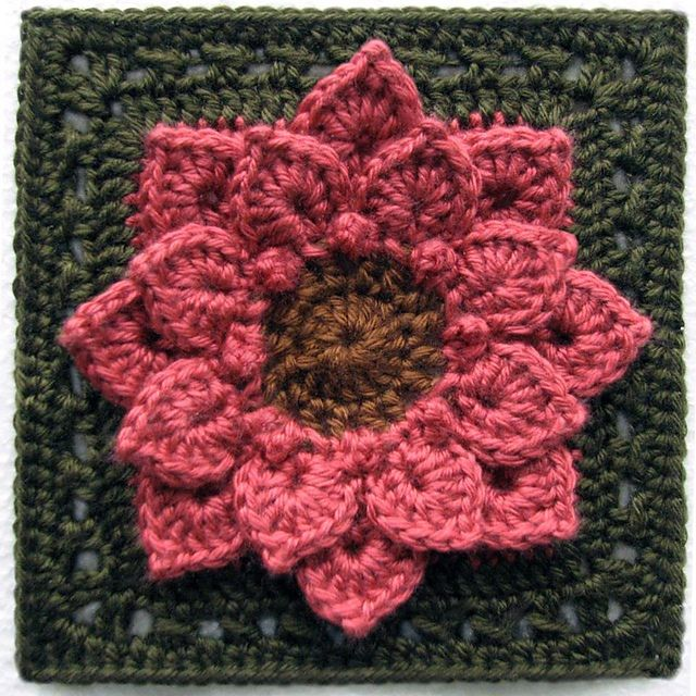 Crocodile Stitch Afghan Block - Dahlia - free crochet pattern