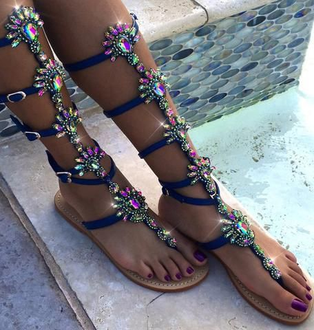 $75.99 #AZMODO Blue Color Shining Rhinestones Thong Flat Sandals A 90-1