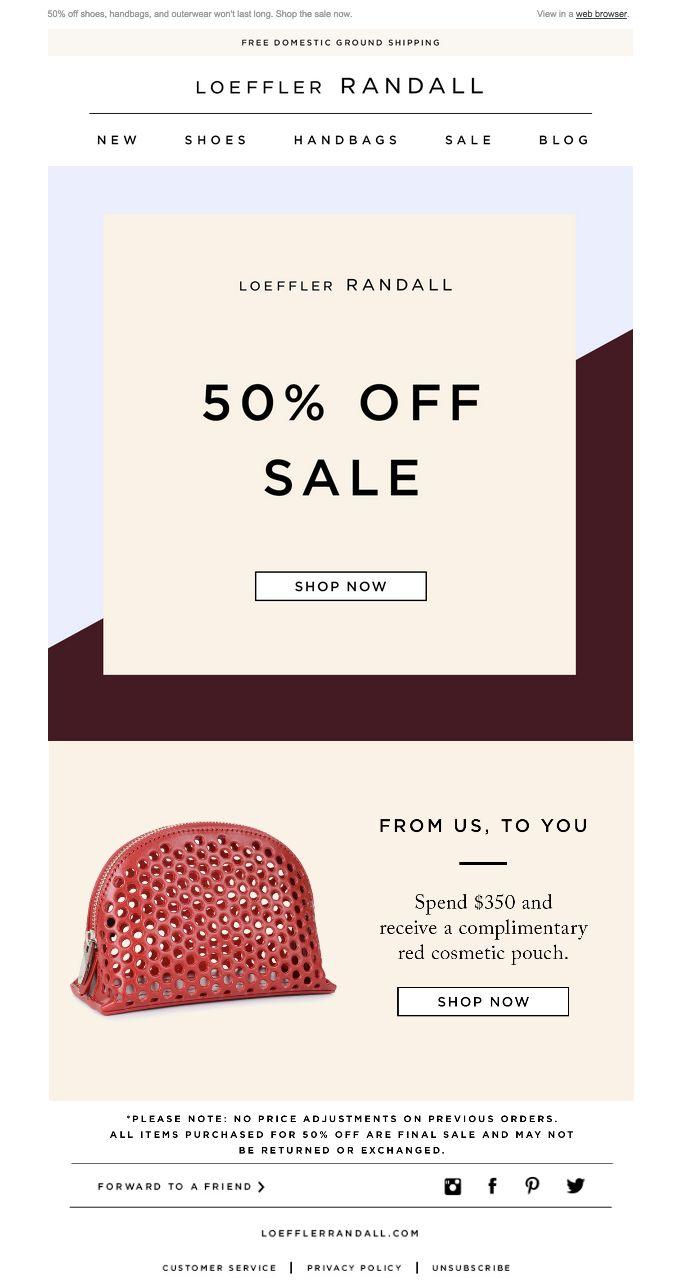 50% OFF SALE at Loeffler Randall / Email, Mailer Design