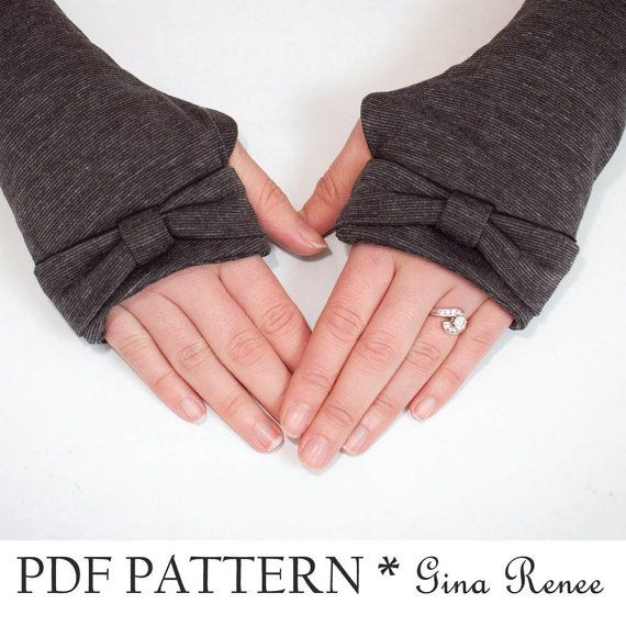 Fingerless Gloves Sewing Pattern. Arm Warmer by GinaReneeDesigns