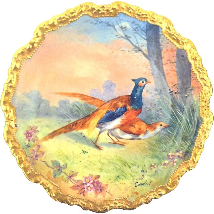 """Limoges France Game Plate/Charger Signed C et J Artist Coudert 11 ¼"""". Porcelain CHARGER  Game Plate exquisitely hand-painted and signed by French"""
