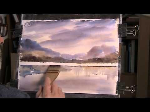 Painting reflections on a lake in watercolour