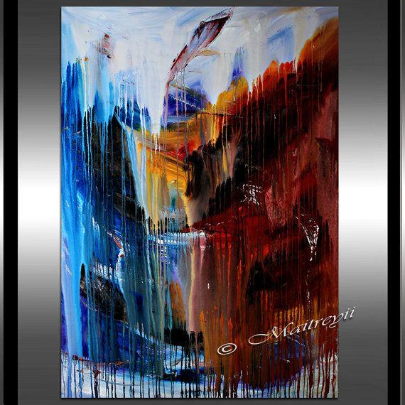 Largeartwork - décorer votre maison et bureau avec l'art de mur cascade abstrait plus unique. C'est l'un de la peinture abstraite de meilleure qualité fabriquée par Dallas artiste Maitreyii Cette peinture a effet cascade visuel qui reflète un sentiment d'intense encore la beauté de la nature.  Cet art abstrait peut être le point focal de votre salon, chambre ou bureau de réception. Cette peinture abstraite a été créée sur une seule pièce 60 x 45 toile, il donne un look très modern et la…