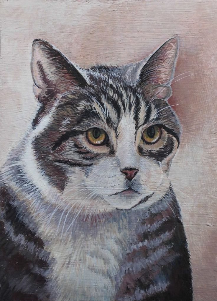 Cat painting with egg temper technique