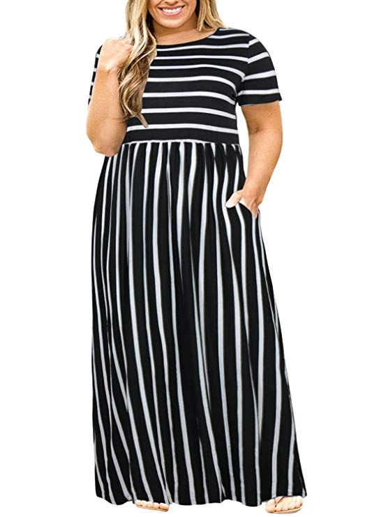 97c6784402c8 Nemidor Women Short Sleeve Loose Plain Casual Plus Size Long Maxi Dress  with Pockets (Black Stripe