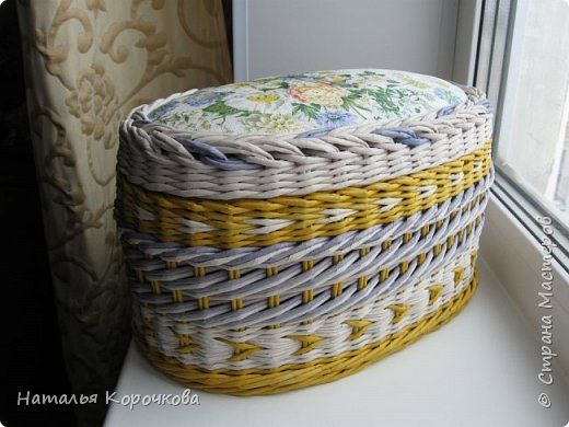 Поделка изделие Декупаж Плетение Большая шкатулка для моего маленького сокровища Салфетки Ткань Трубочки бумажные фото 1