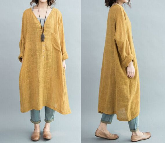 linen dress plus size /large yellow v-neck, loose, casual cotton long section of theatrical dress