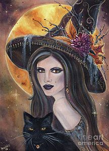 Witch Painting - Sable And Salem Halloween Witch by Renee Lavoie