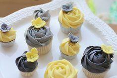 yellow and gray wedding cupcakes