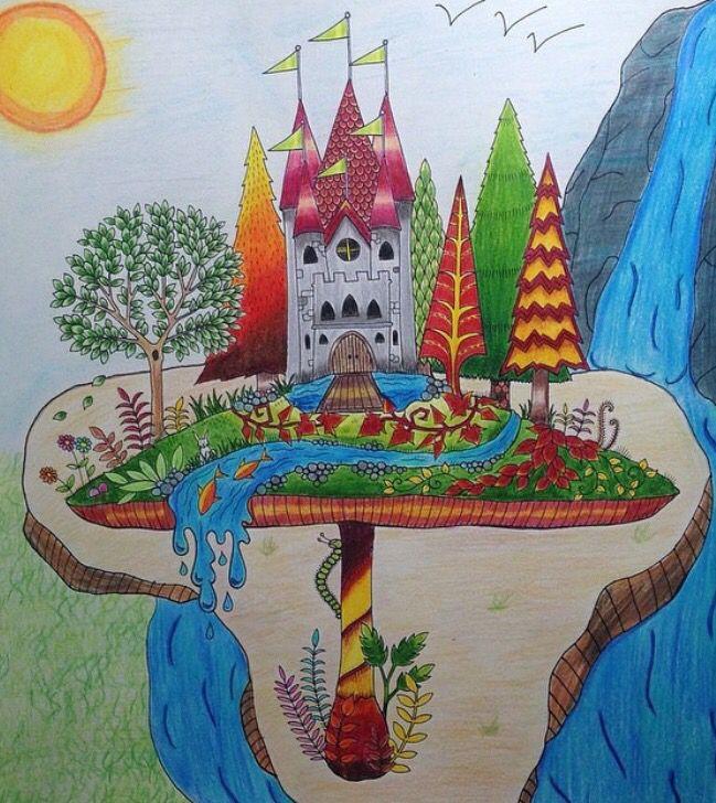Mushroom Castle Enchanted Forest Castelo No Cogumelo Floresta Encantada Johanna Basford