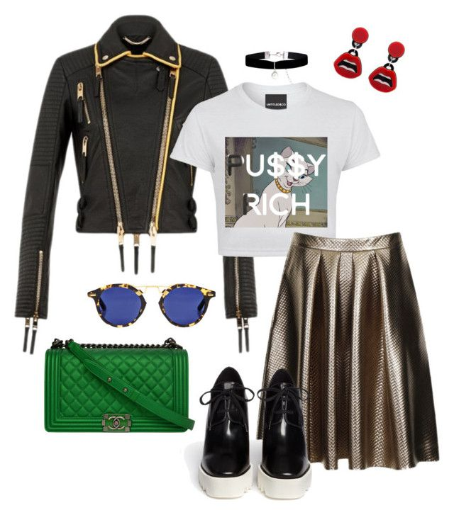 """PussyRich"" by s2pring on Polyvore featuring Monsoon, Burberry, Yazbukey, Chanel, STELLA McCARTNEY, GREEN and leatherjacket"