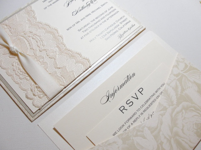 CONNIE Lace Weddding Invitations - Double Sided. $817.50, via Etsy.