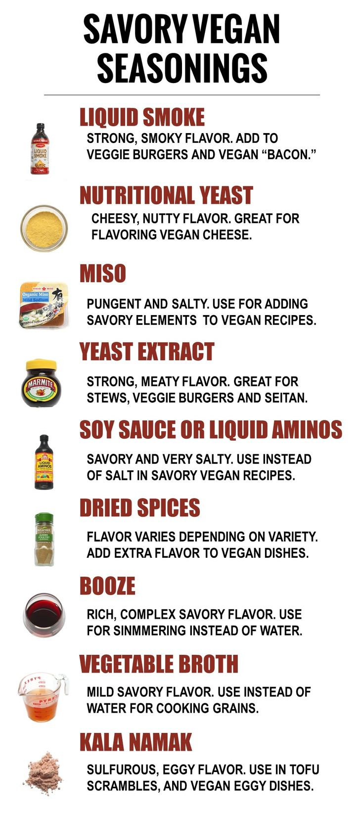 Looking to pin-down that elusive umami flavor in your vegan cooking? The right ingredients will do the trick! Check out these 9 savory vegan seasonings. Whether you're looking for smoky, pungent, meaty or cheesy flavor, keep these on hand to pack your vegan meals with savory flavor.