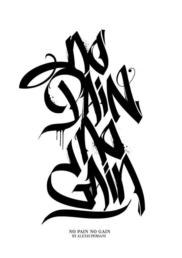 Black  White Calligraphy by Alexis Persani