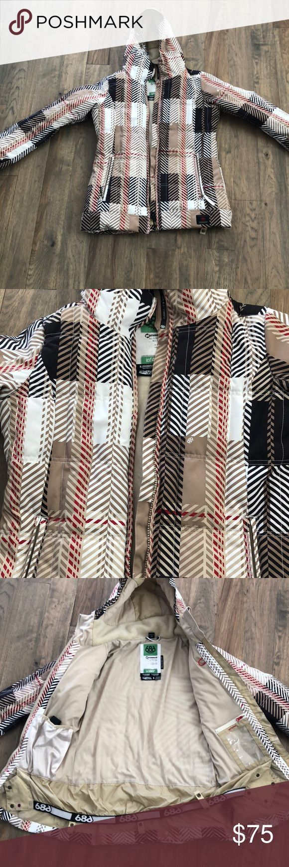 686 Ski Snowboarding Coat Burberry Print- Small Women's size small 686 snowboarding skiiing coat. Infidry material. Waterproof and breathable with a thermal rating of 9. Worn Once. Burberry Print. 686 Jackets & Coats Puffers