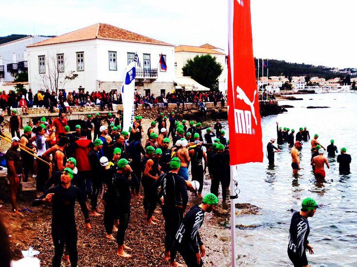 Waiting for the race to begin....#spetsathlon2014#spetses